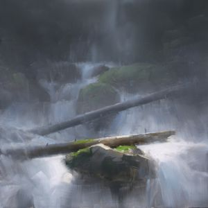 Cascade (Study), oil, 12x12