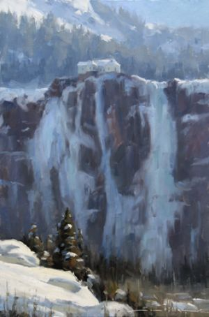 Bridal Veil Winter | 18x12 inches | Oil | Telluride, Colorado