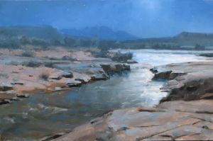 Moonlight on the Virgin River | 12x18 inches | Oil | Near Zion National Park, UT